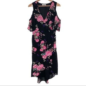 Hint Of Blush floral print drop sleeve wrap dress